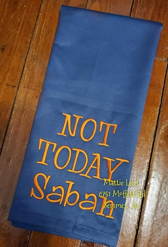 Not Today Saban Kitchen Towel (Navy & Orange)