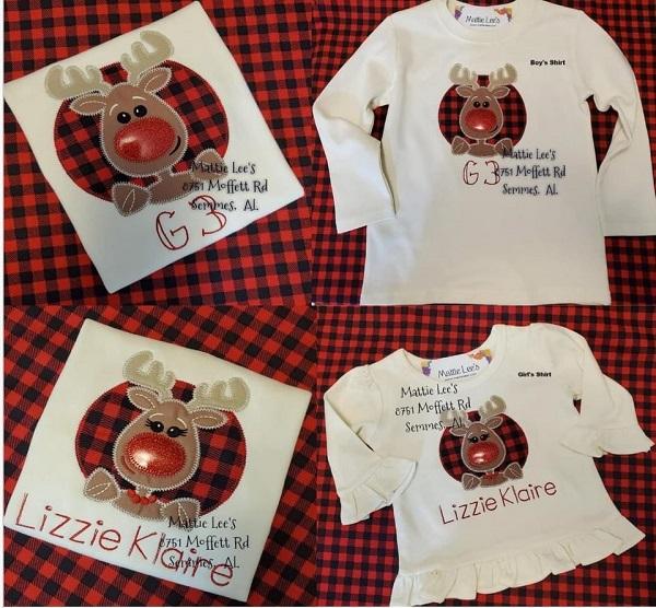 Christmas Applique Reindeer Shirt