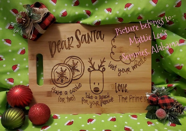 Santa and Reindeer Cutting Board / Table Tray
