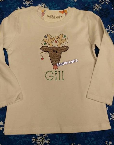 Christmas Monogrammed Reindeer Shirt