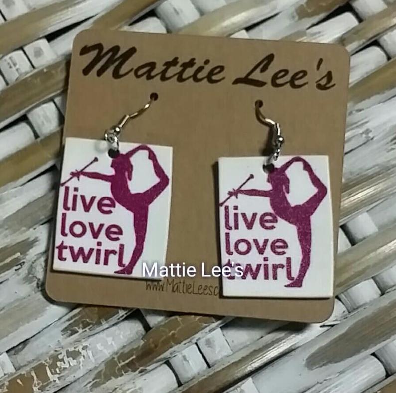 Live. Love. Twirl Baton Earrings