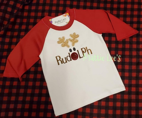 Christmas Rudolph Red & White Shirt